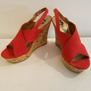 Guess cork wedges red orange size 10